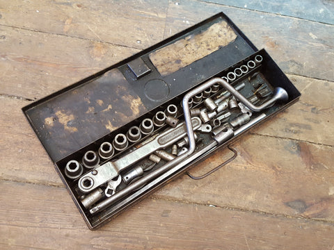 "Very Old Vintage Britool Partial Socket Set w Assorted Bits 1/2"" Hex 29042"