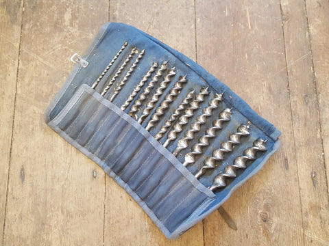 Complete Set of Ridgway 240 Brace Drill Bits in Tool Roll 29480
