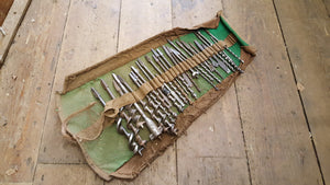 "Mixed Job Lot of 28 Vintage Brace Bits in Tool Roll 1/4"" - 1 1/4"" 36239"