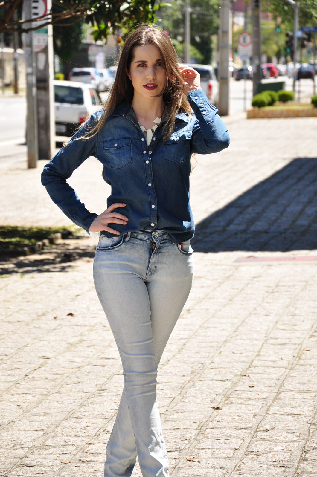 CAMISA JEANS ESCURA CANAL