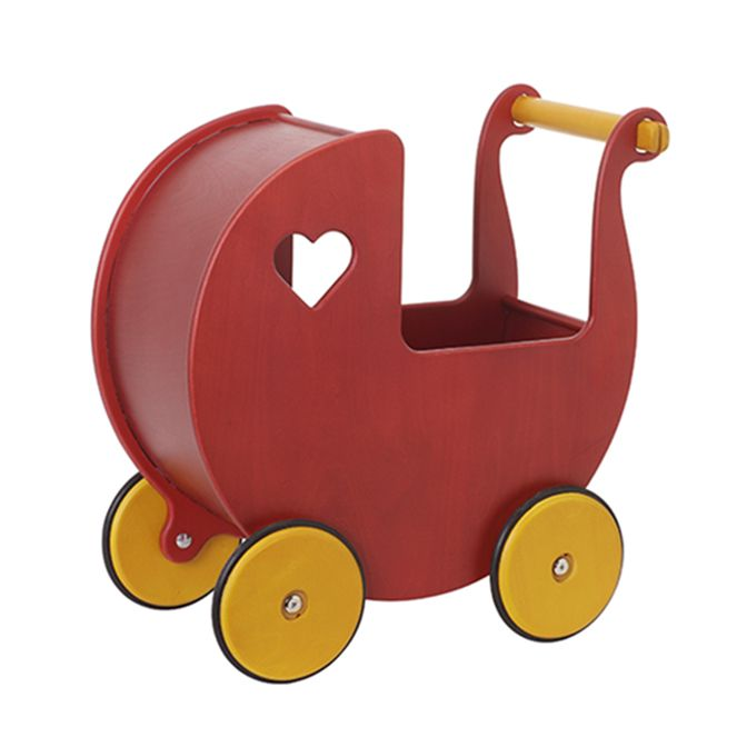 Dolls Red Wooden Pram