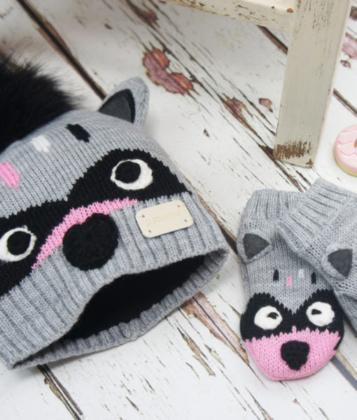 Racoon Character Hat and Mittens Set 0-6 YRS