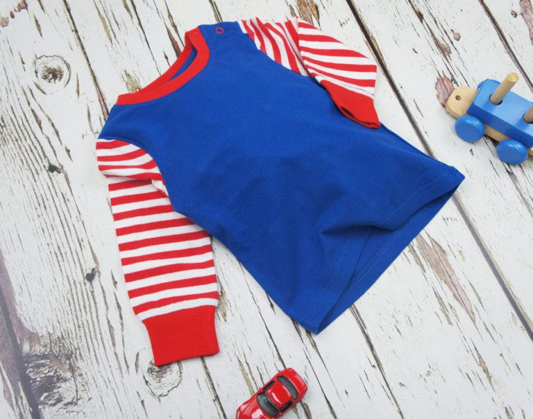 Striped Sleeve Long Sleeve Plain Blue Top 0-4 YRS