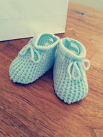 Blue Knitted Booties First Size
