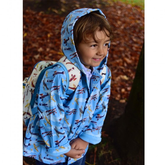 Powell Craft Boys Vintage Planes Print Rain Coat
