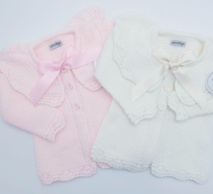 Matinee Pink or Cream Cardigans with Ribbon Bow Fastening
