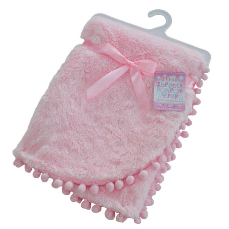 Pink High Pile Pom Pom Trim Blanket