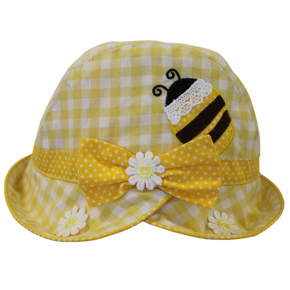 Yellow Gingham Bumble Bee Hat
