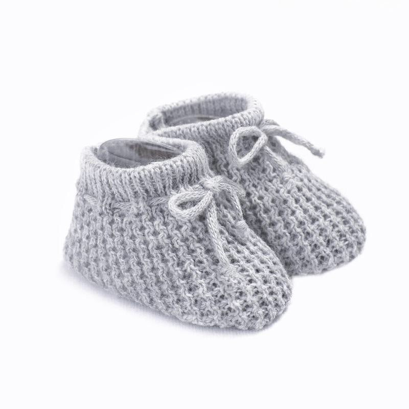 Grey Knitted Booties First Size