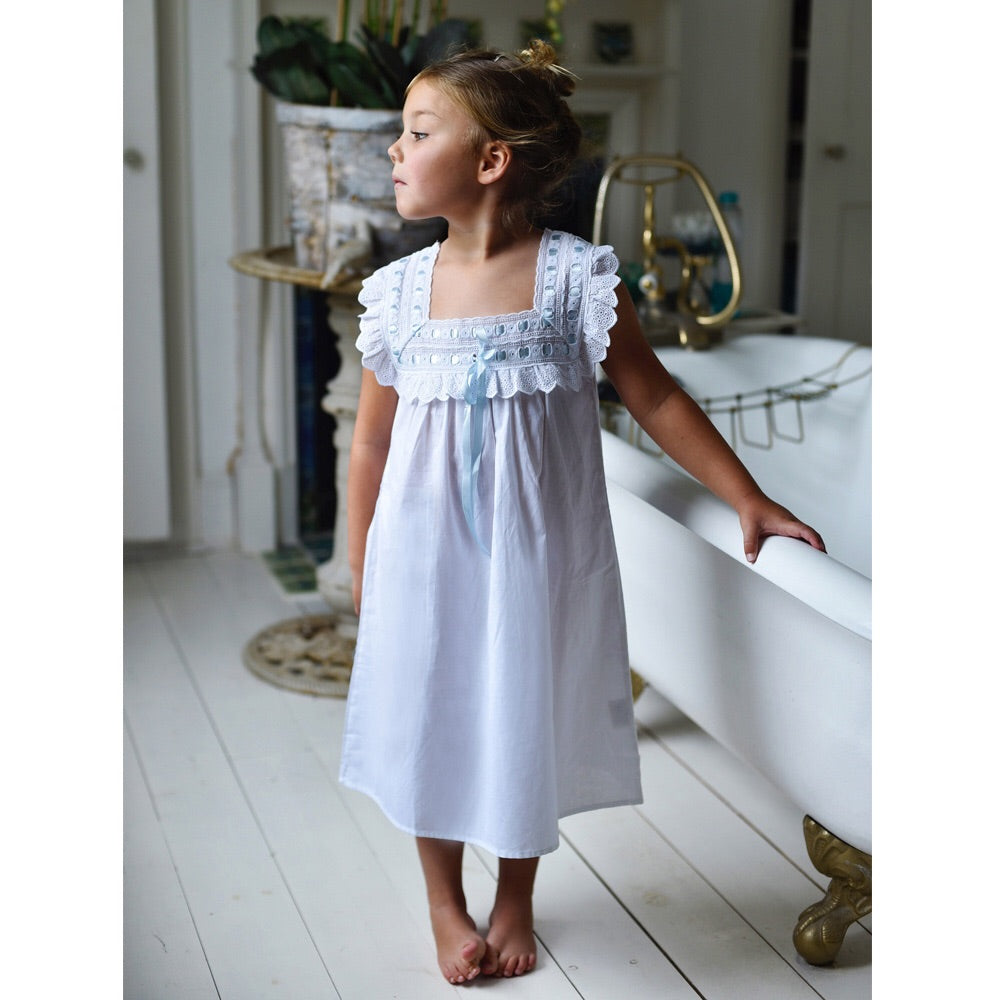 NEW Faye Nightdress with Blue Ribbon Traditional Cotton Nightdress 2-8 YRS