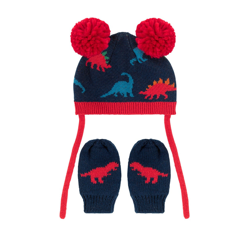 Dino Stamp Knitted Baby Hat & Mittens Set