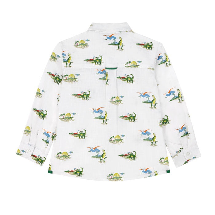 Spaced Dino Kids Long Sleeve Oversized Shirt