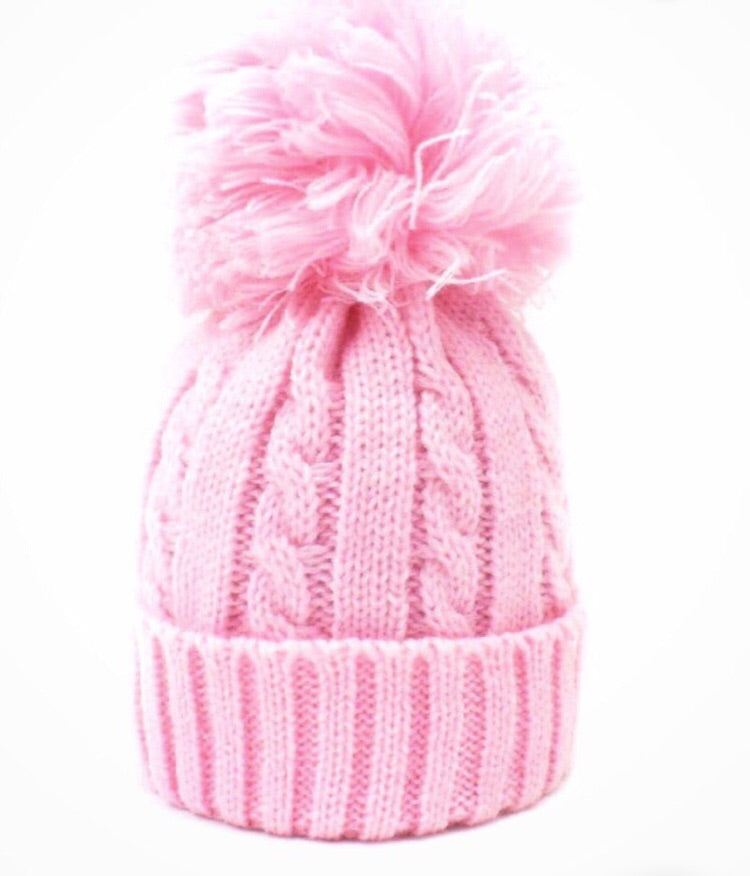 Large Cable Knit Pom Hat - Pink