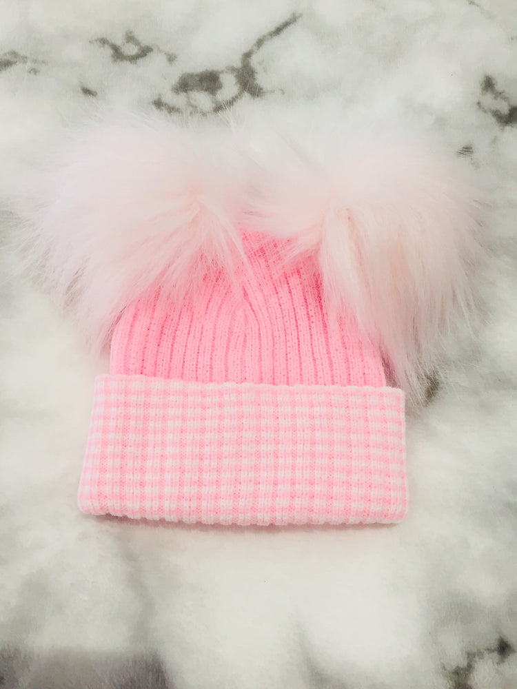 First Size Faux Fur Double Pom Pom Hat