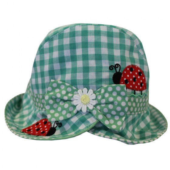 Green Gingham Ladybird Sun Hat 1-3 YRS