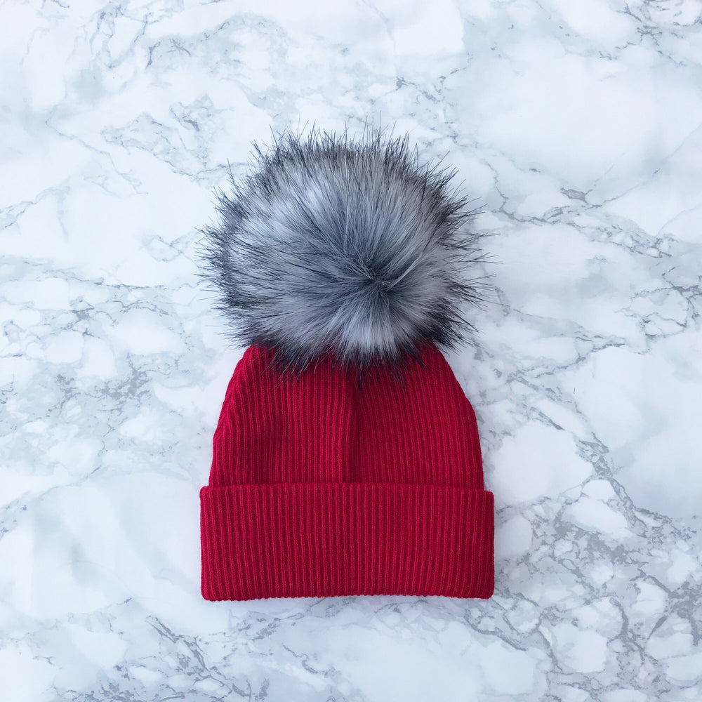 2nd Size Red and Grey Faux Fur Pom Hat