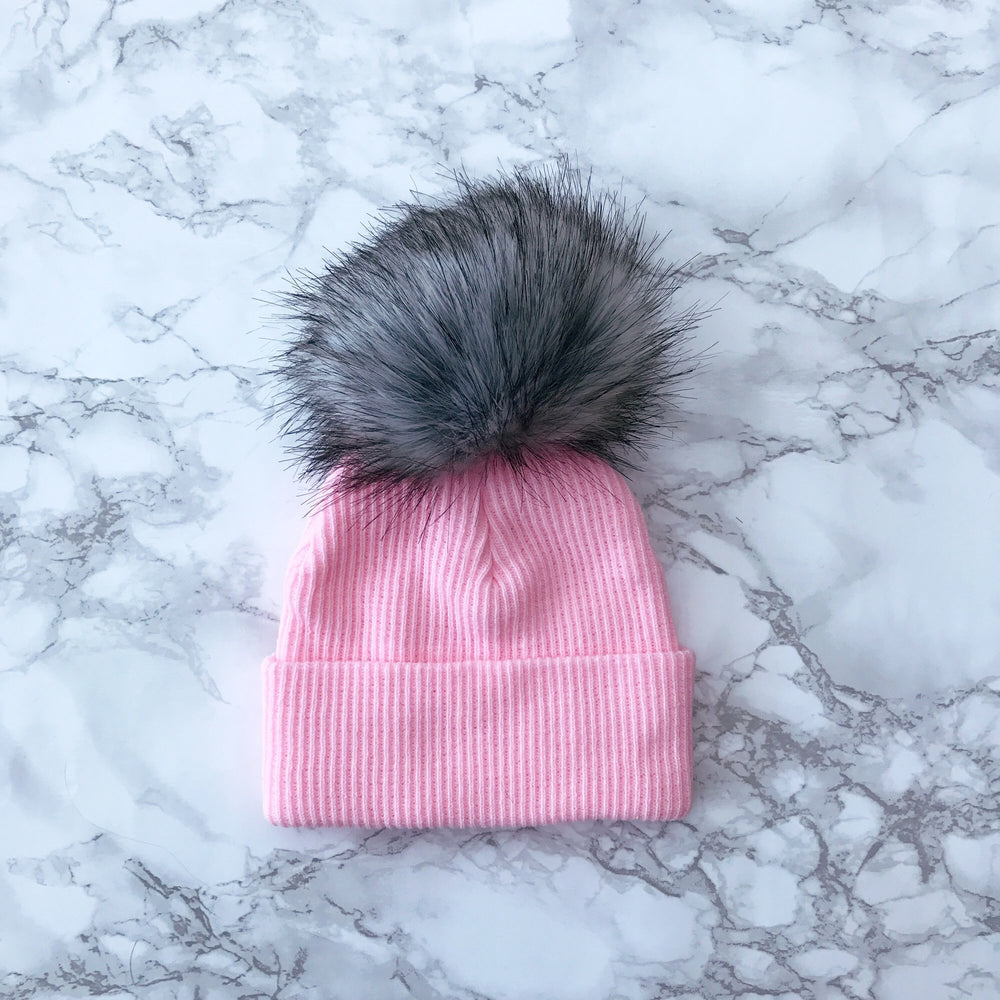 2nd Size Faux Fur Pom Hat Pink and Grey