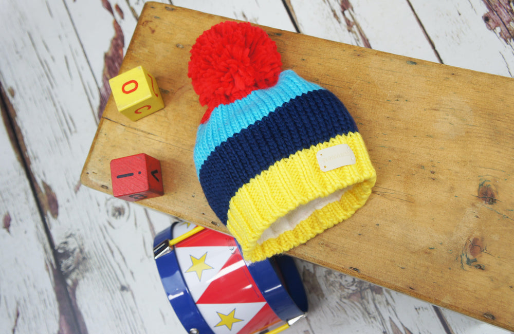 Blade and Rose Bright Stripe Bobble Hat 0-6 YRS