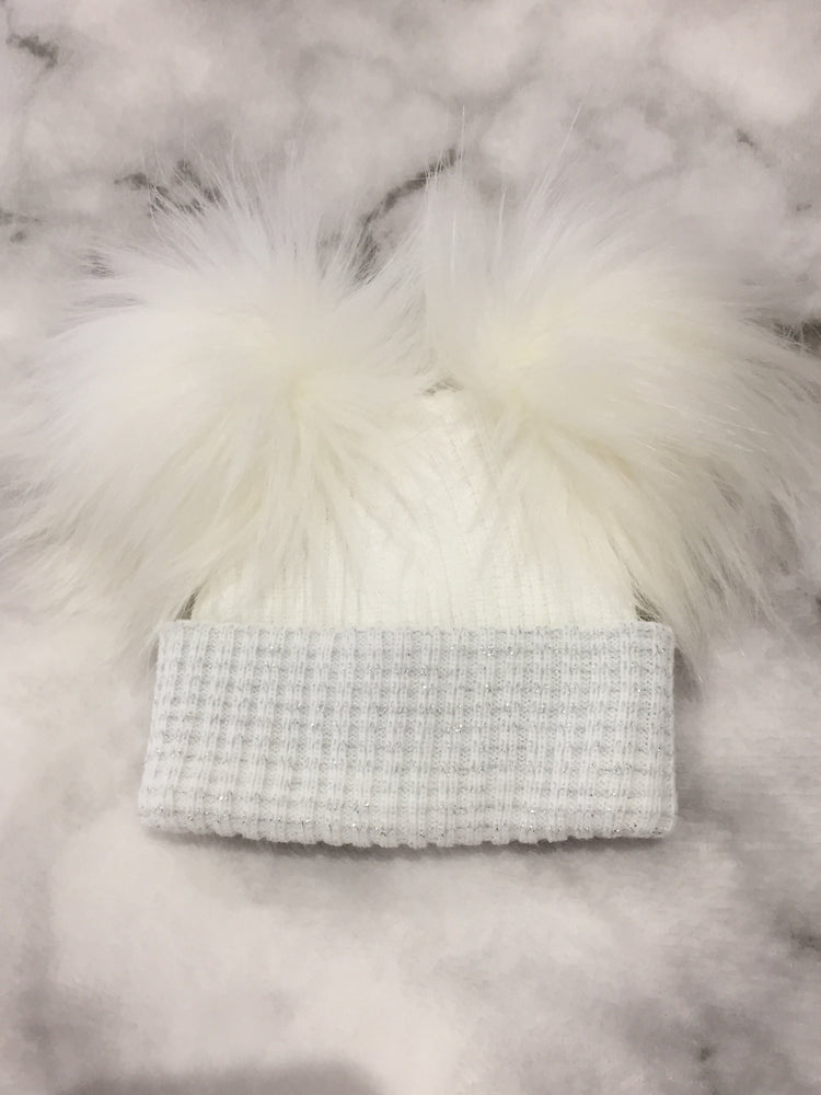 First Size Double Faux Fur Pom Pom Hat with Silver Thread