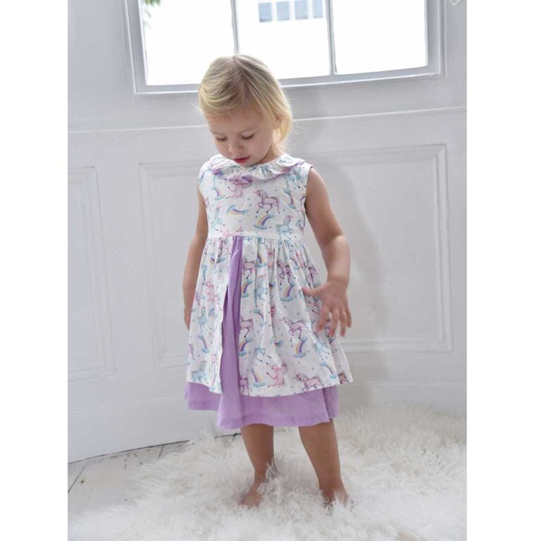 Unicorn Print Cotton Dress 1-7 YRS