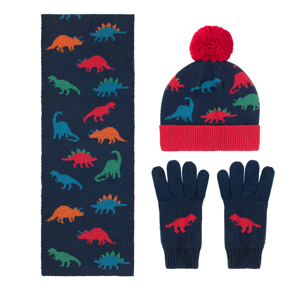 Dino Stamp Hat, Scarf and Gloves Set