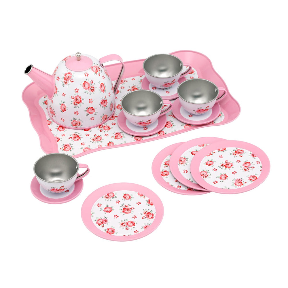 Tin Tea Set Hampton Rose 14 Piece