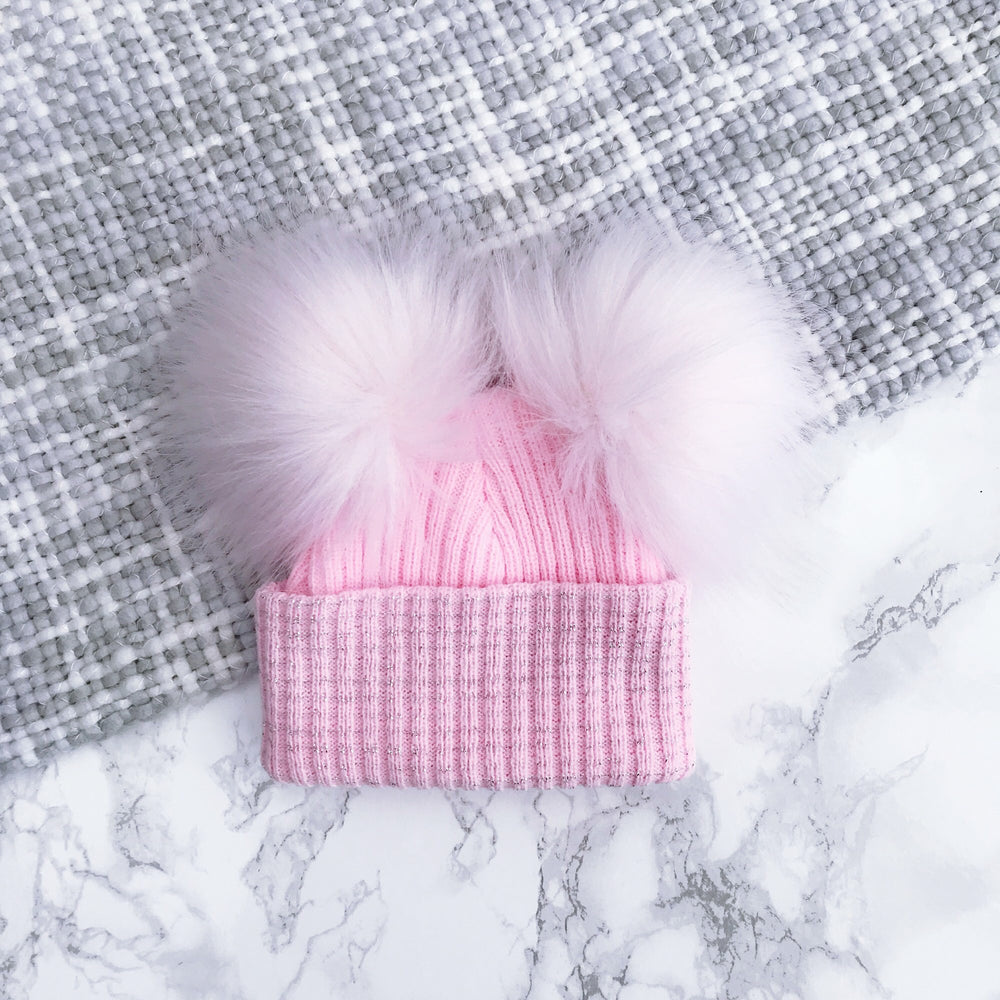 First Size Pink Double Faux Fur Pom Hat