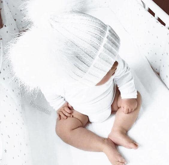 Deluxe Faux Fur Double Pom Hat WHITE