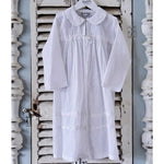 Powell Craft Girls White Swiss Dot Cotton Dressing Gown - Lucille