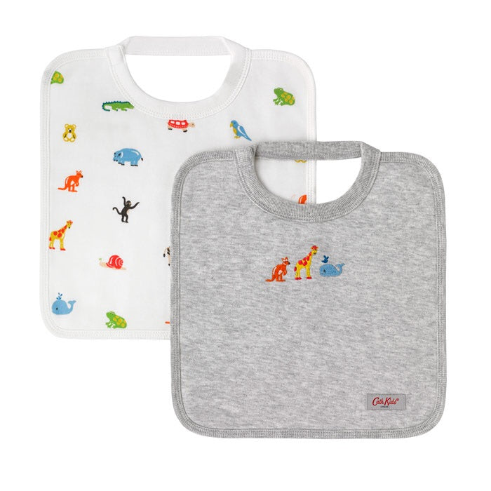 Nursery Animals Baby Pack of 2 Square Bibs