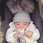 Deluxe Faux Fur Double Pom Hat GREY