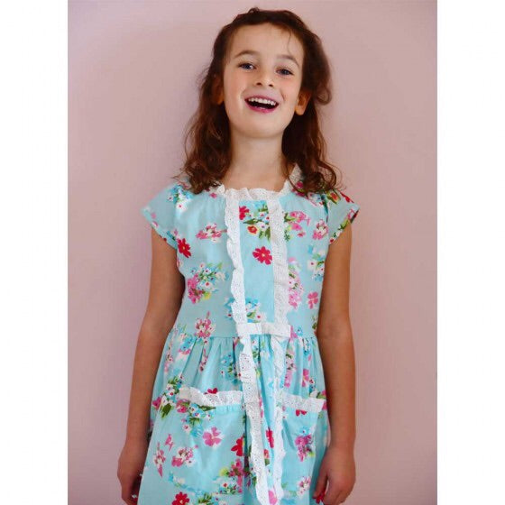 Blue Floral Dress 1-7 YRS