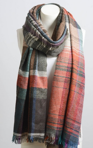 Beautiful Rust Mix Plaid Winter Long Fringe Scarf