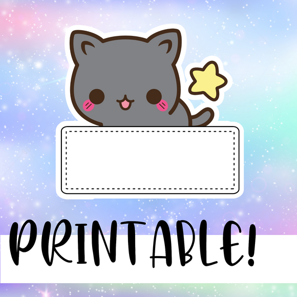 Cat Banner - Printable Stickers