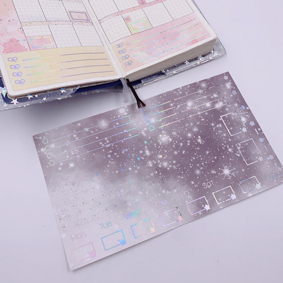 Hobonichi Weeks - Monthly Kits - Monochrome Grey Galaxy (Holo Foiled)