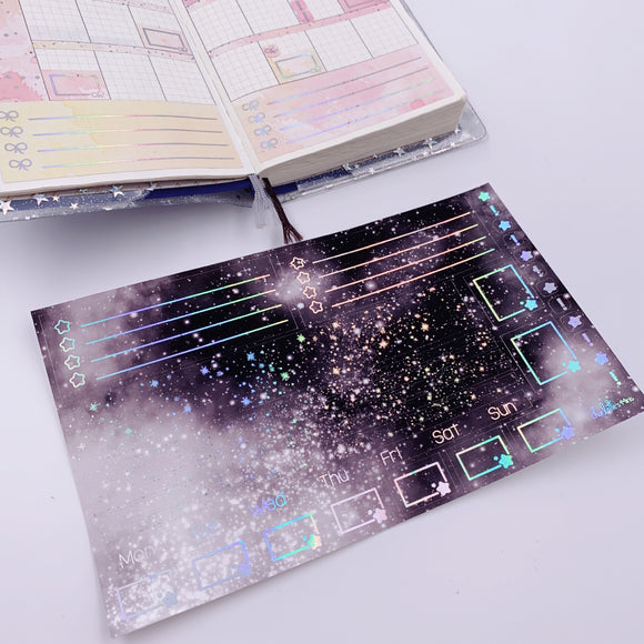 Hobonichi Weeks - Monthly Kits - Monochrome Galaxy (Holo Foiled)