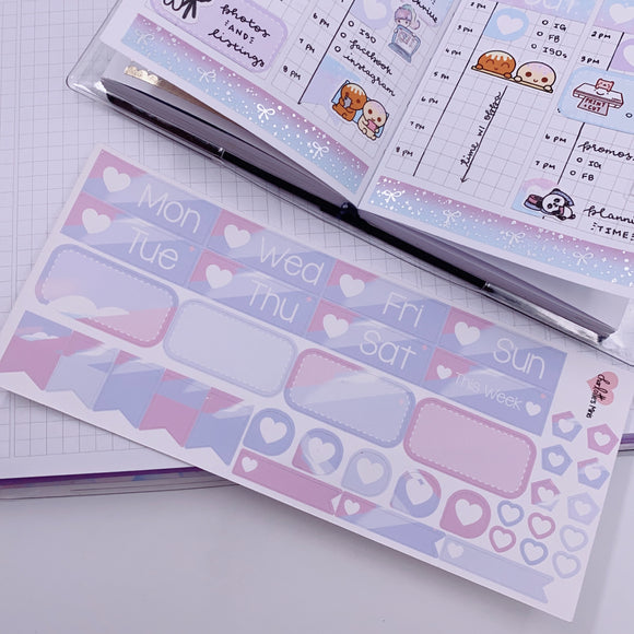 PP B6/Weeks Vertical Planner- Essential Kits - Pastel Clouds