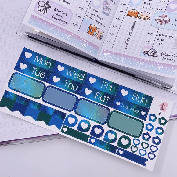 PP B6/Weeks Vertical Planner- Essential Kits - Teal Galaxy