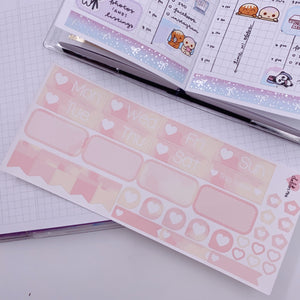 PP B6/Weeks Vertical Planner- Essential Kits - Pink Hearts