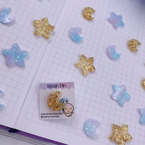 Planner Accessories - Resin Pins - Gold Moon