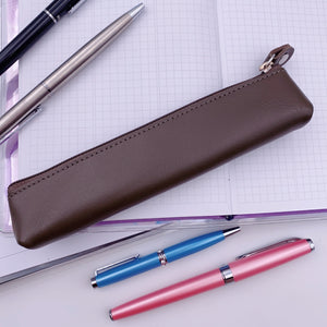 Pens - Real Leather Zippered Pen Case - Grey