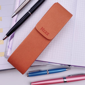 Pens - Vegan Leather Divider Pen Case - Orange