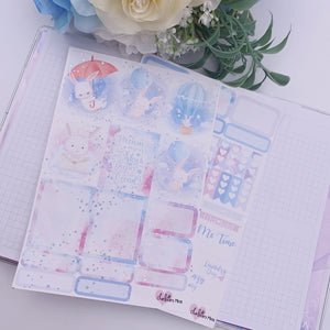 Planner Mini kits- Dream Bunnies (Silver Sparkle Holo Foil)