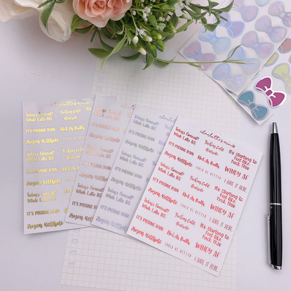 Planner Midis - Clear Foiled Sassy Weather Stickers