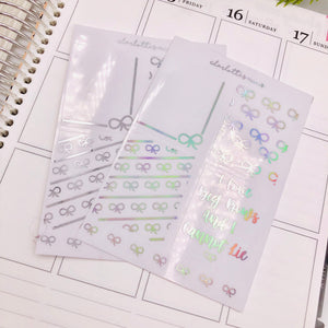 Planner Midis - Clear Foiled Full box Overlay Stickers (Bow Lover)