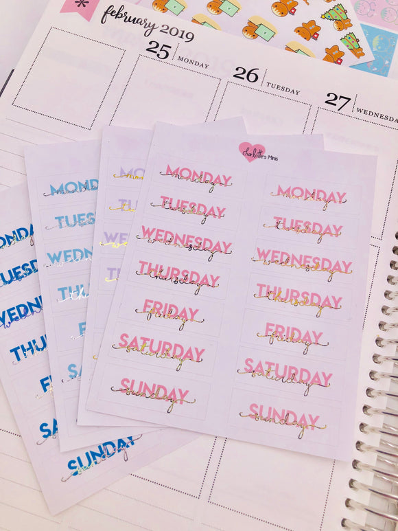 Planner Midi -Foiled Date Covers - Pinks (Gold Holo Foil)