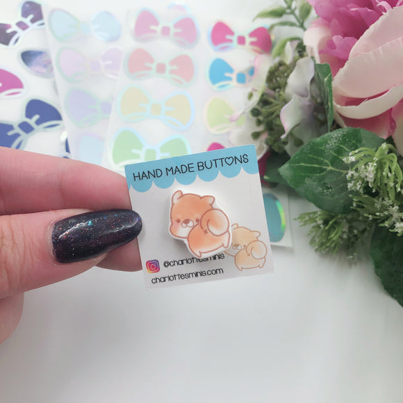 Planner Accessories - Resin Pins - Shiba Butt