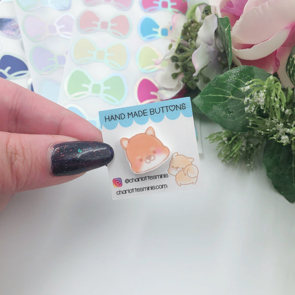 Planner Accessories - Resin Pins - Shiba Face