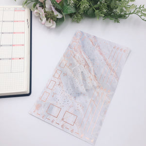 Hobonichi Weeks - Monthly Kits - Grey Marble (Rose Gold Foiled)
