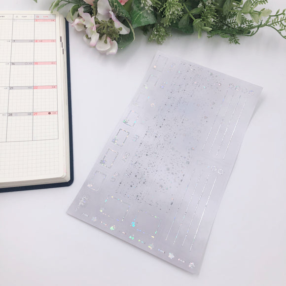 Hobonichi Weeks - Monthly Kits - Grey Clouds (Sparkle Holo Foiled)